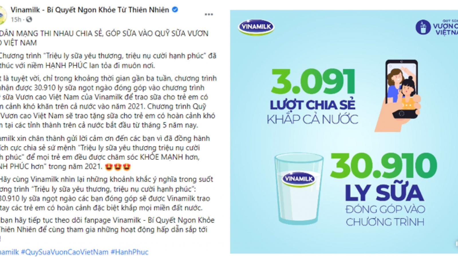 Quỹ sữa vươn cao Việt Nam 2021 của Vinamilk sẽ có thêm 31.000 ly sữa
