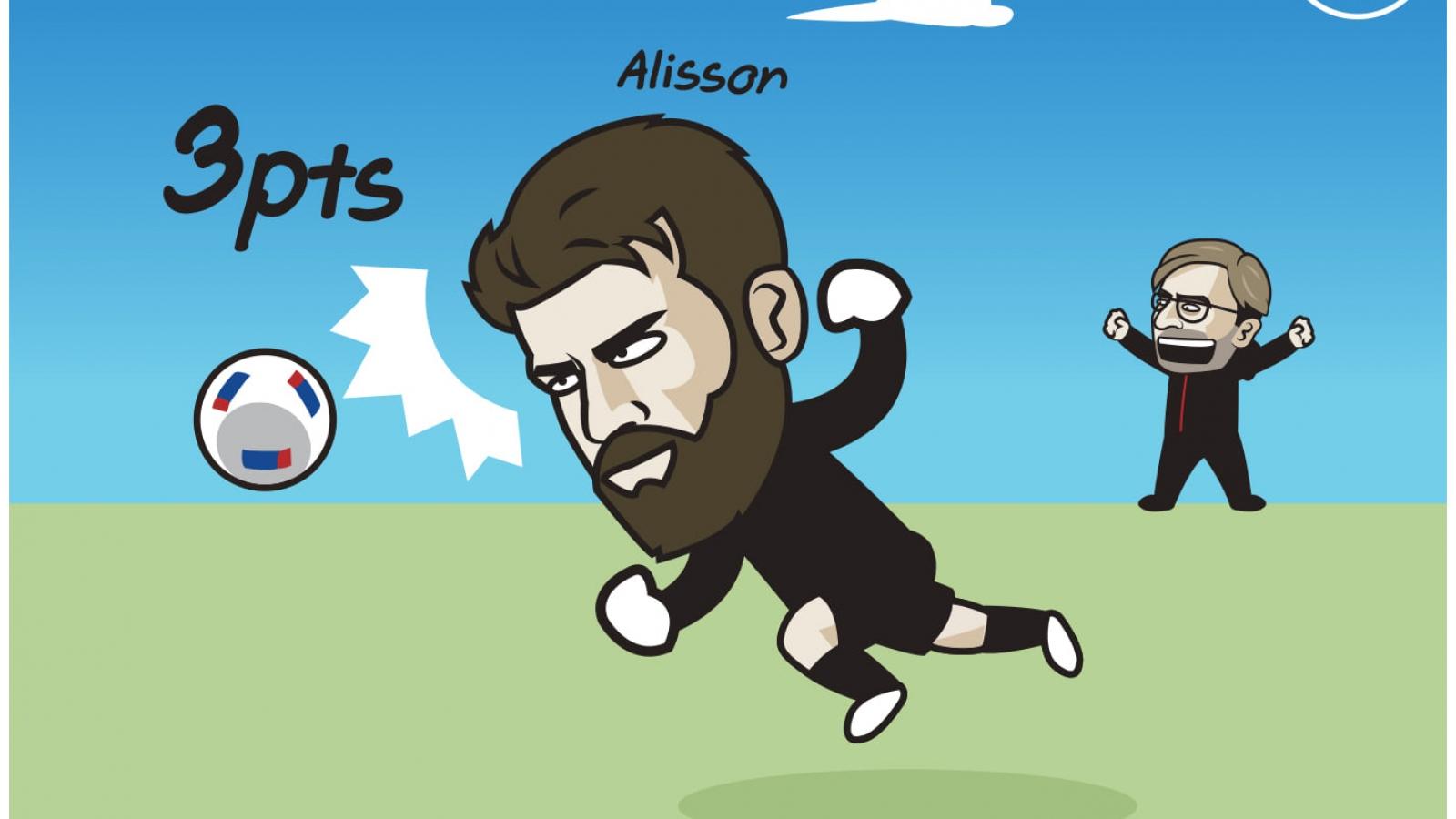 Biếm họa 24h: Alisson ghi bàn giải cứu Liverpool
