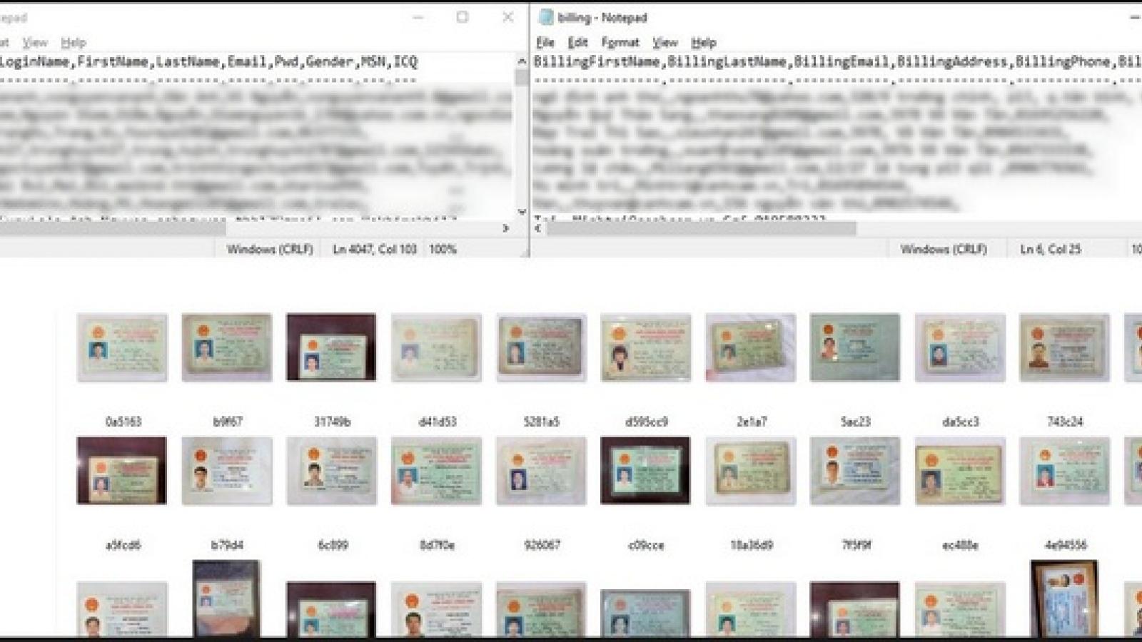 Ảnh chụp CMND, thông tin cá nhân của hàng ngàn người Việt bị hacker rao bán