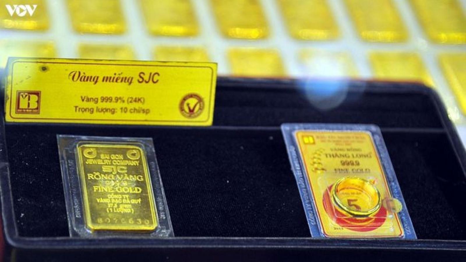 Giá vàng SJC tăng, đắt hơn vàng thế giới gần 5 triệu đồng/lượng