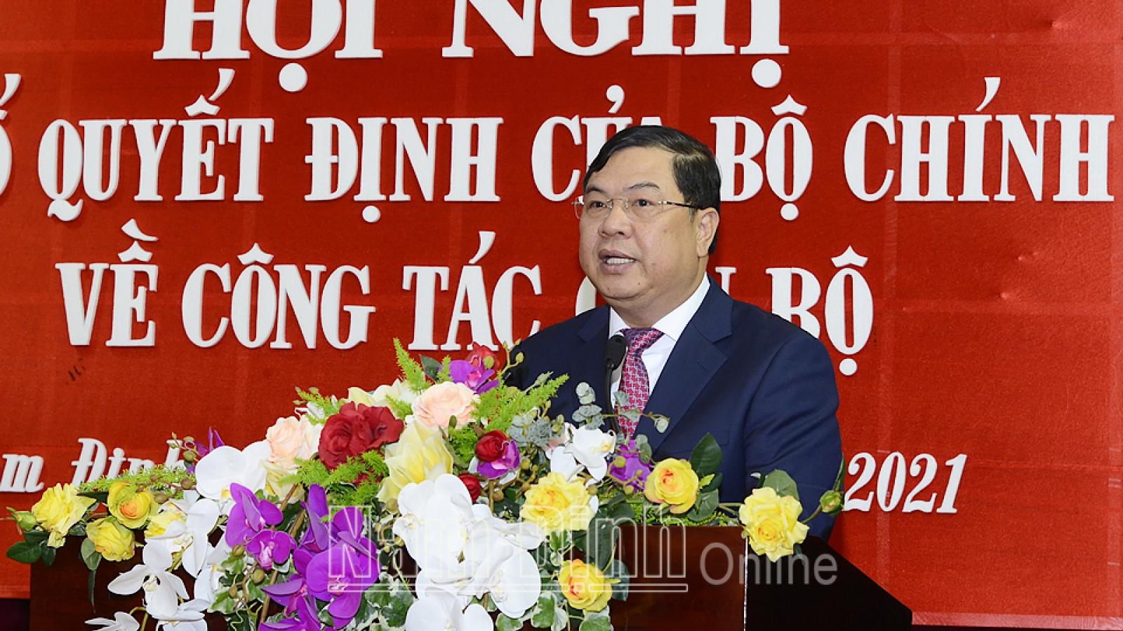 Ông Phạm Gia Túc được điều động làm Bí thư Tỉnh ủy Nam Định