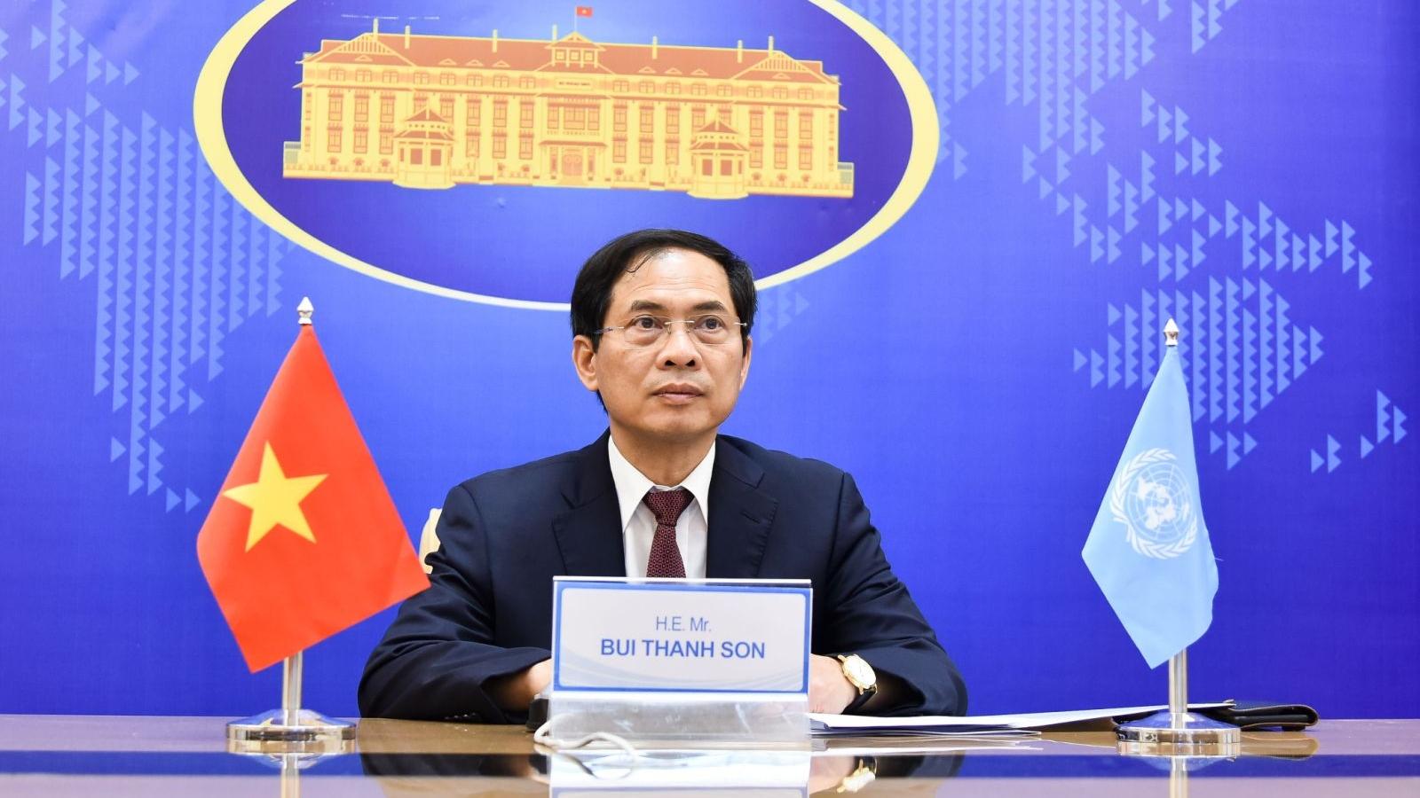 Bộ trưởng Ngoại giao Bùi Thanh Sơn dự Phiên thảo luận mở trực tuyến cấp Bộ trưởng HĐBA LHQ