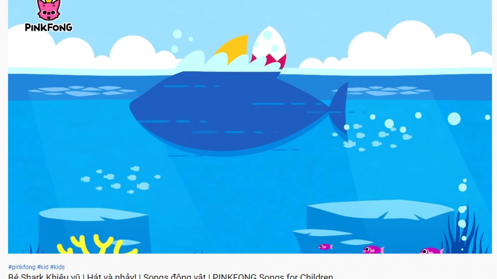"""""""Baby shark"""" chạm mốc 8,5 tỷ lượt xem, giữ vững danh hiệu MV được xem nhiều nhất Youtube"""
