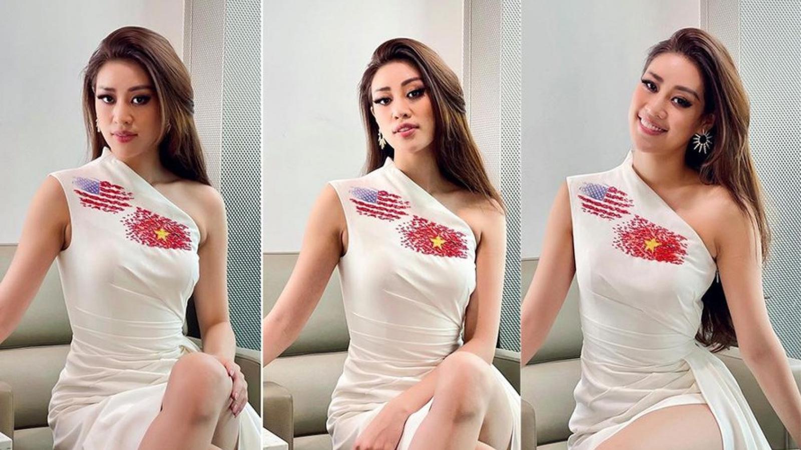 """Khánh Vân thể hiện """"chiến thuật"""" thông minh với váy áo khi vừa đặt chân tới Mỹ"""