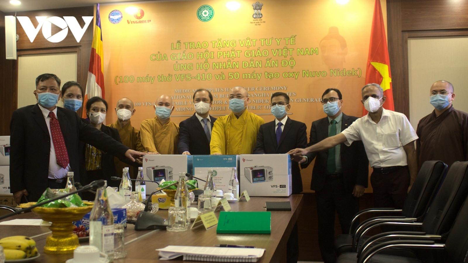 Vietnam Buddhists present ventilators to India for COVID-19 fight