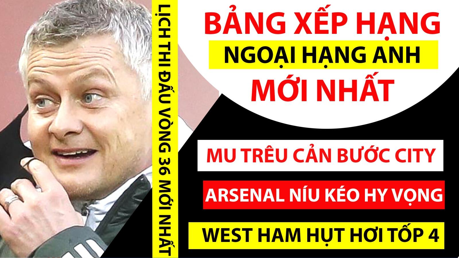Bảng xếp hạng Ngoại hạng Anh mới nhất: MU cản bước Man City, Chelsea vững tốp 3