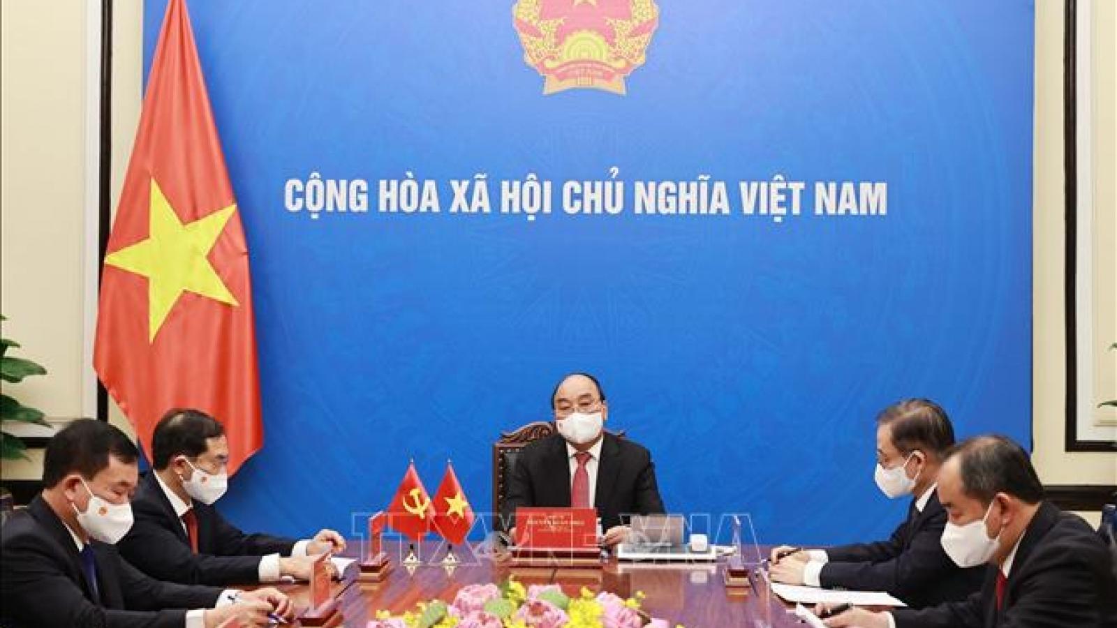 Chủ tịch nước Nguyễn Xuân Phúc điện đàm Tổng Bí thư, Chủ tịch nước Trung Quốc