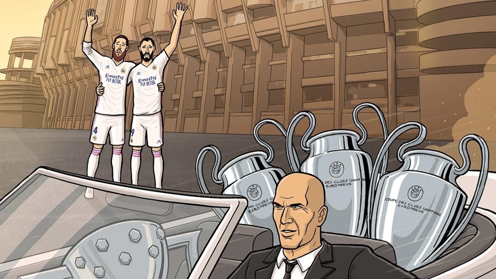 Biếm họa 24h: HLV Zidane nói lời chia tay Real Madrid