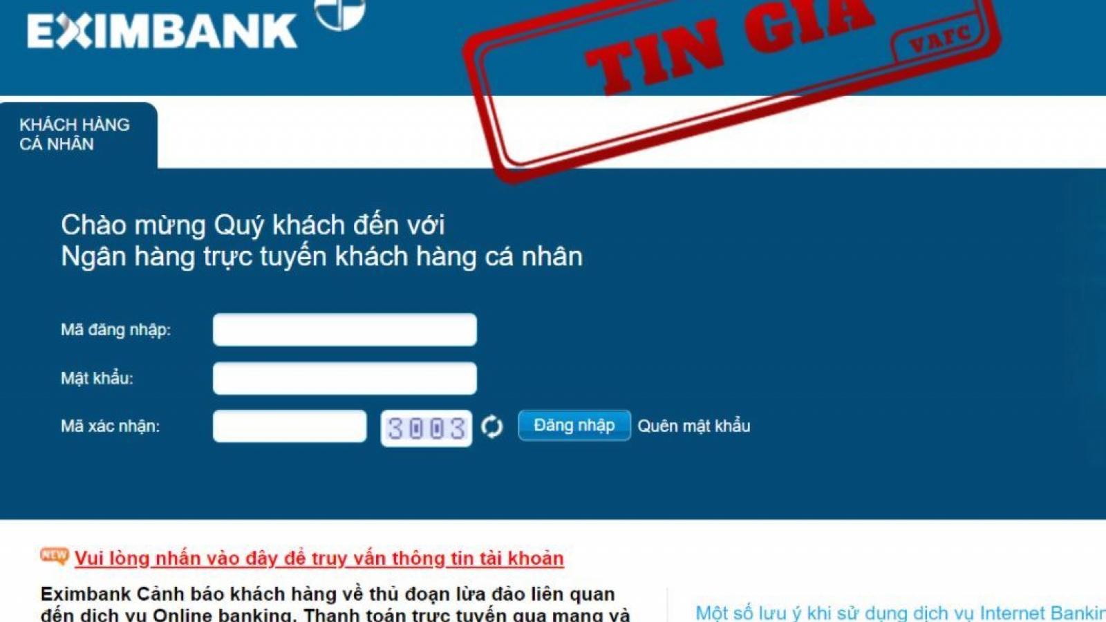 Eximbank là nạn nhân mới nhất trong danh sách các ngân hàng bị giả mạo website
