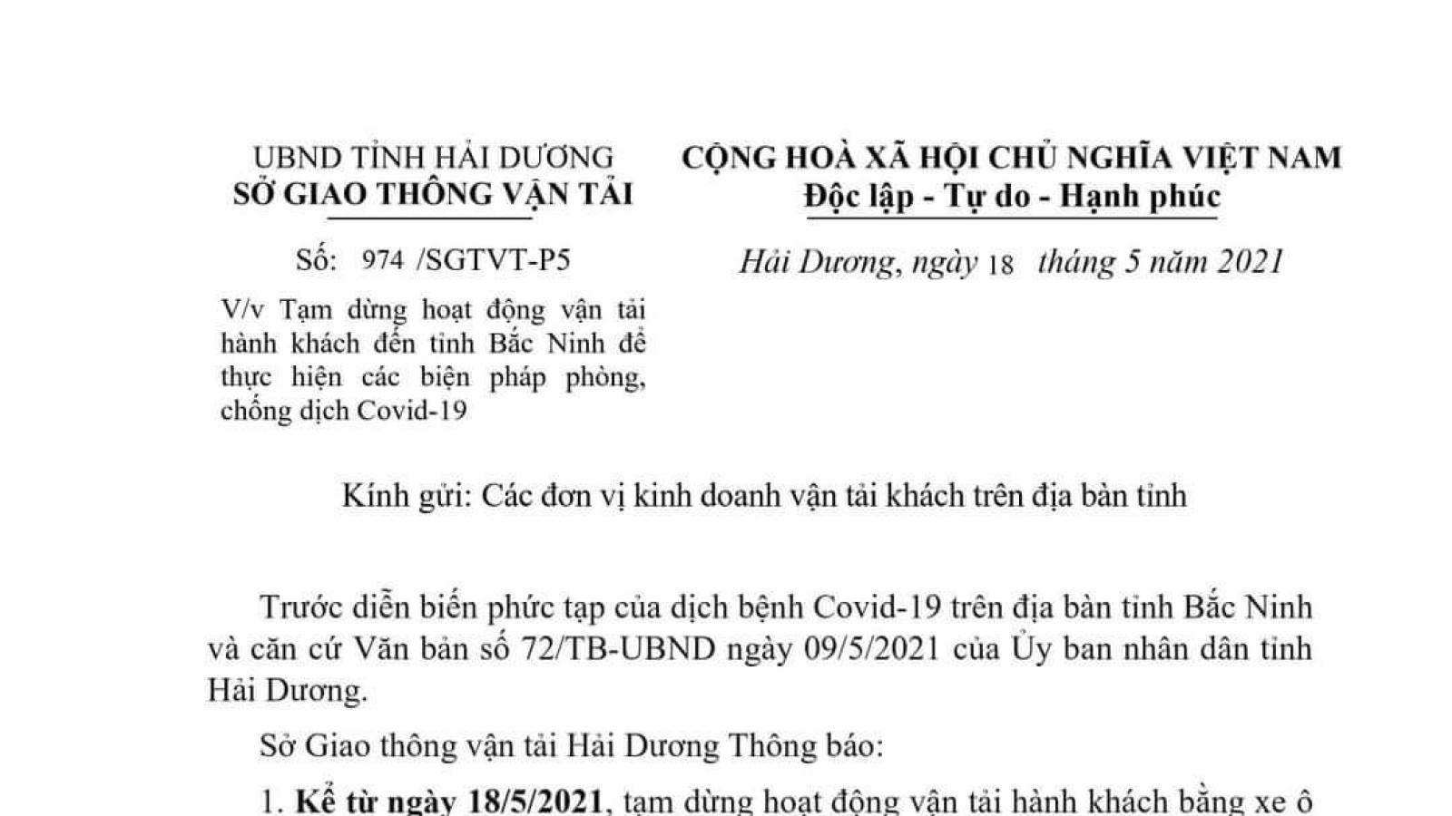 Hải Dương dừng mọi hoạt động vận tải hành khách đến Bắc Ninh để phòng chống Covid-19