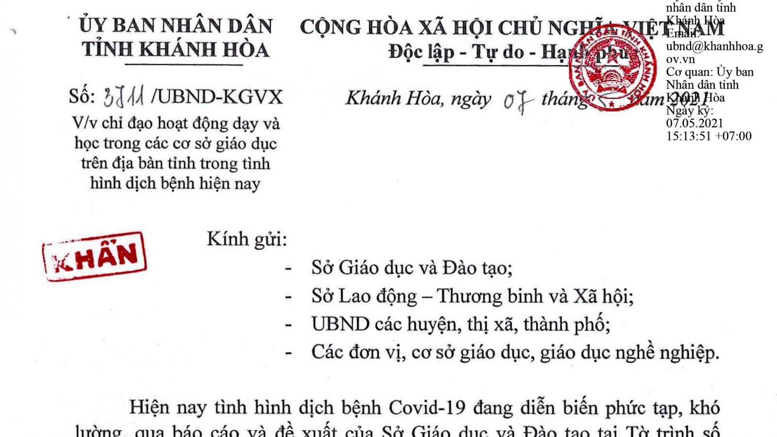 Khánh Hòa cho học sinh tạm dừng đến trường