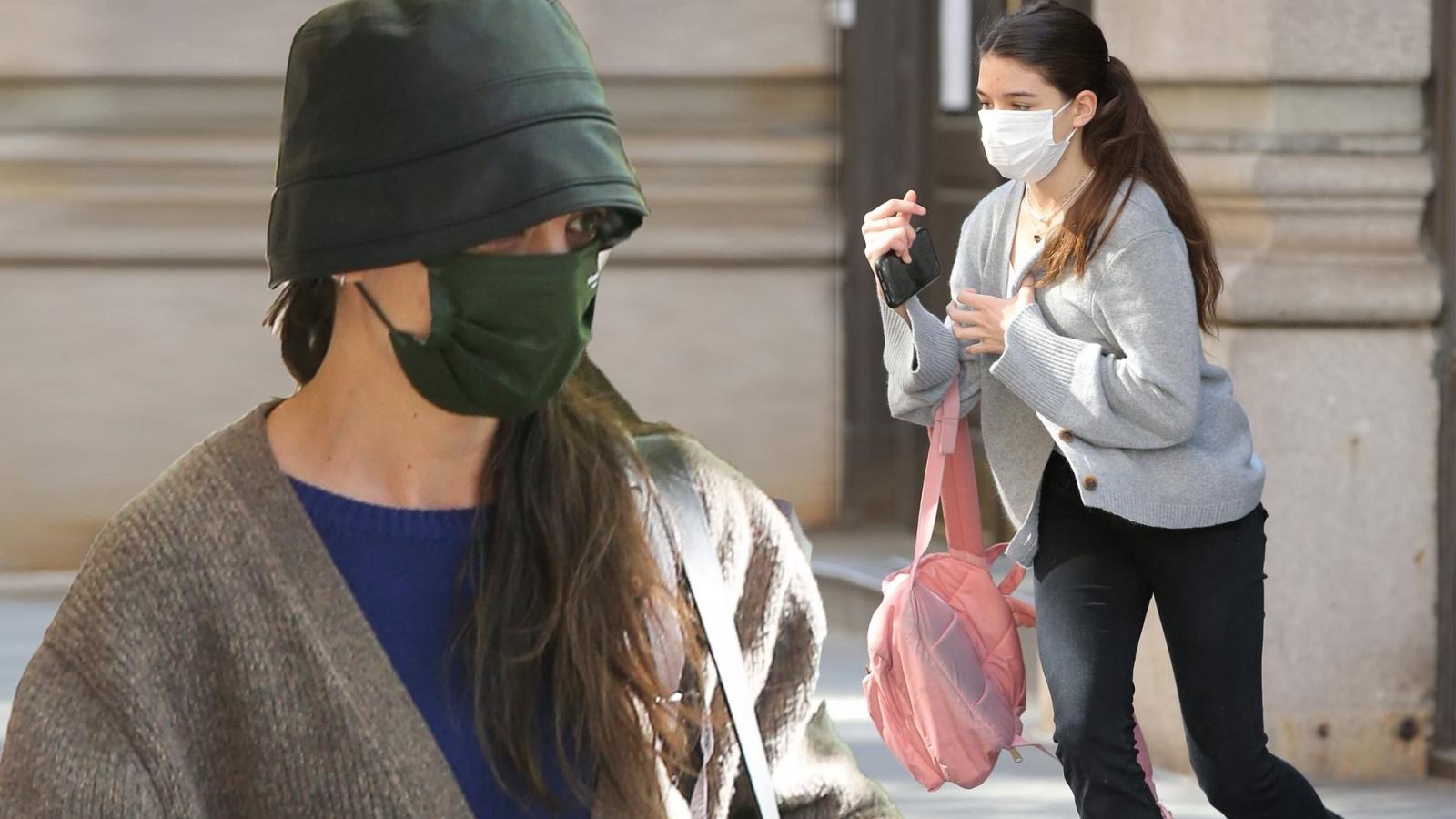 Katie Holmes liên tục né cánh paparazzi khi ra phố cùng con gái Suri