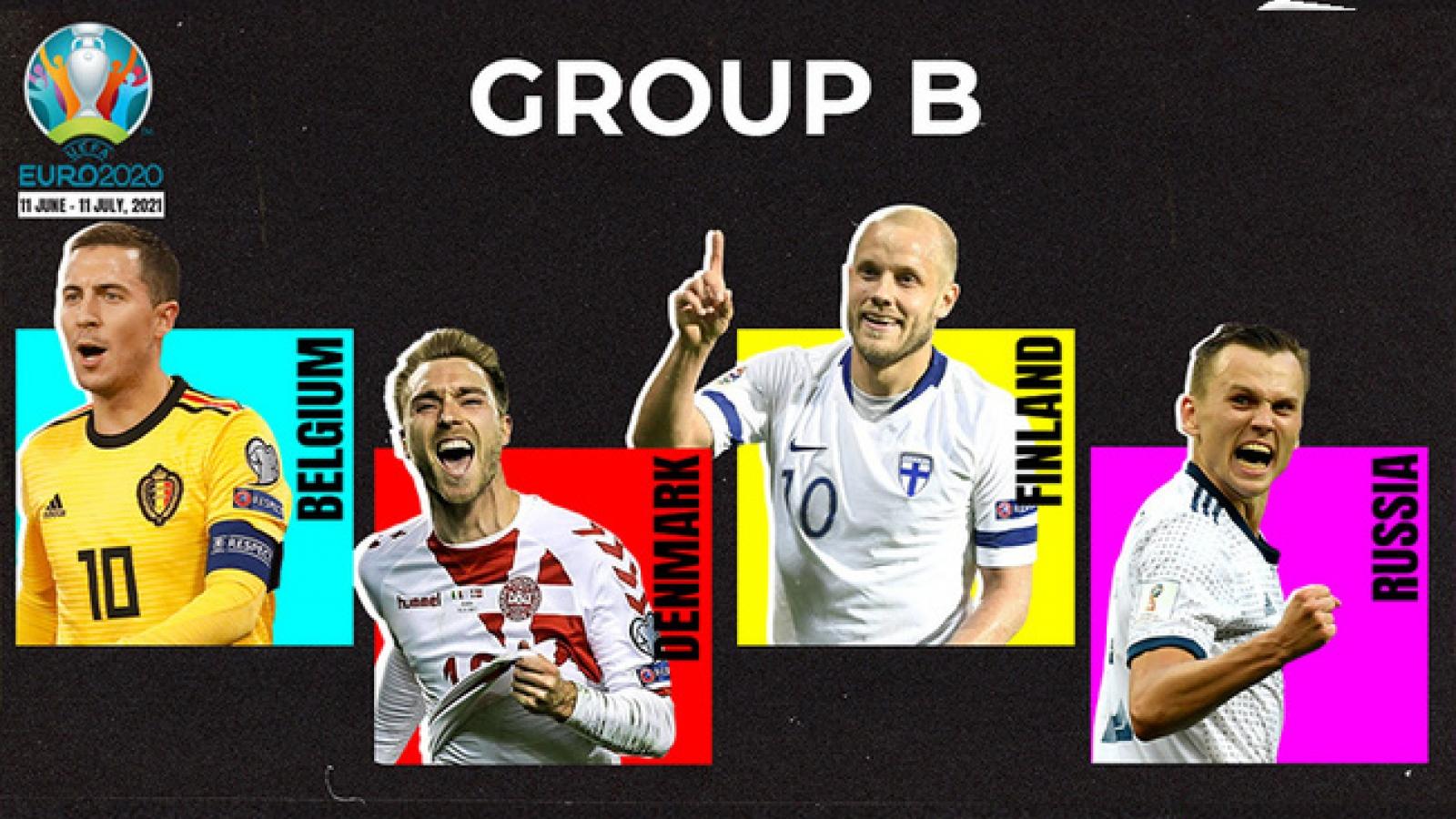 Lịch thi đấu bảng B - EURO 2020: Thử thách lớn dành cho ĐT Bỉ