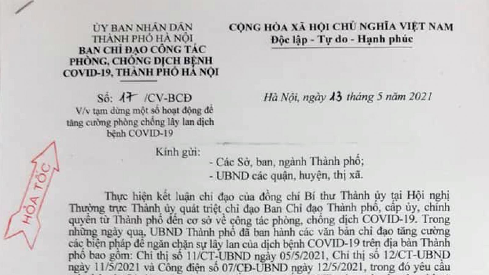 Hà Nội tạm dừng hoạt động thể thao, sân golf, tập golf  từ 12h00 ngày 13/5