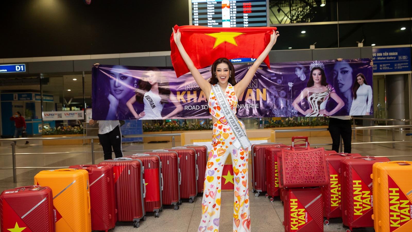 Hoa hậu Khánh Vân mang 15 vali hành lý đến Mỹ tham gia Miss Universe