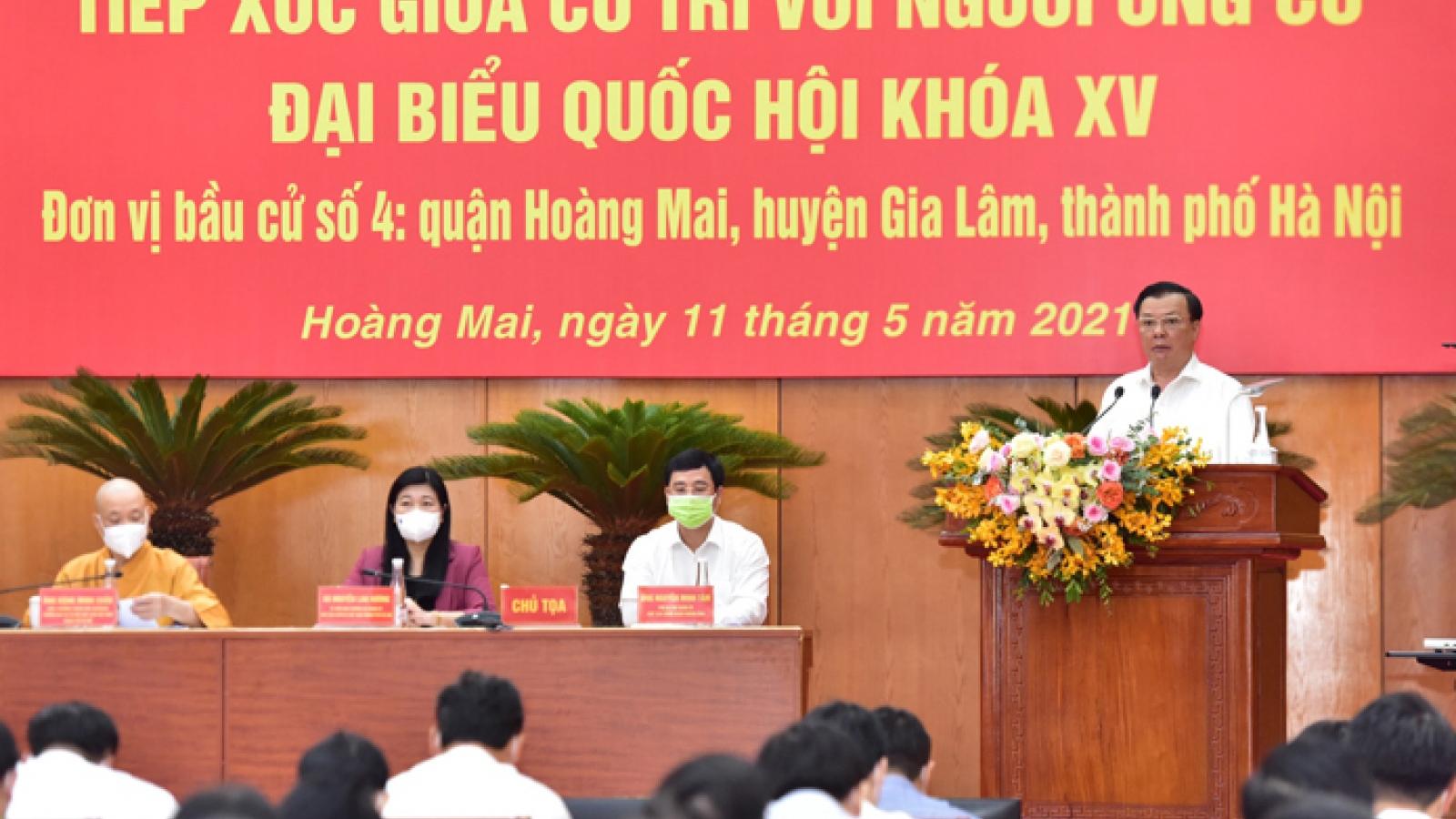 Bí thư Thành ủy Hà Nội tiếp xúc cử tri quận Hoàng Mai, huyện Gia Lâm