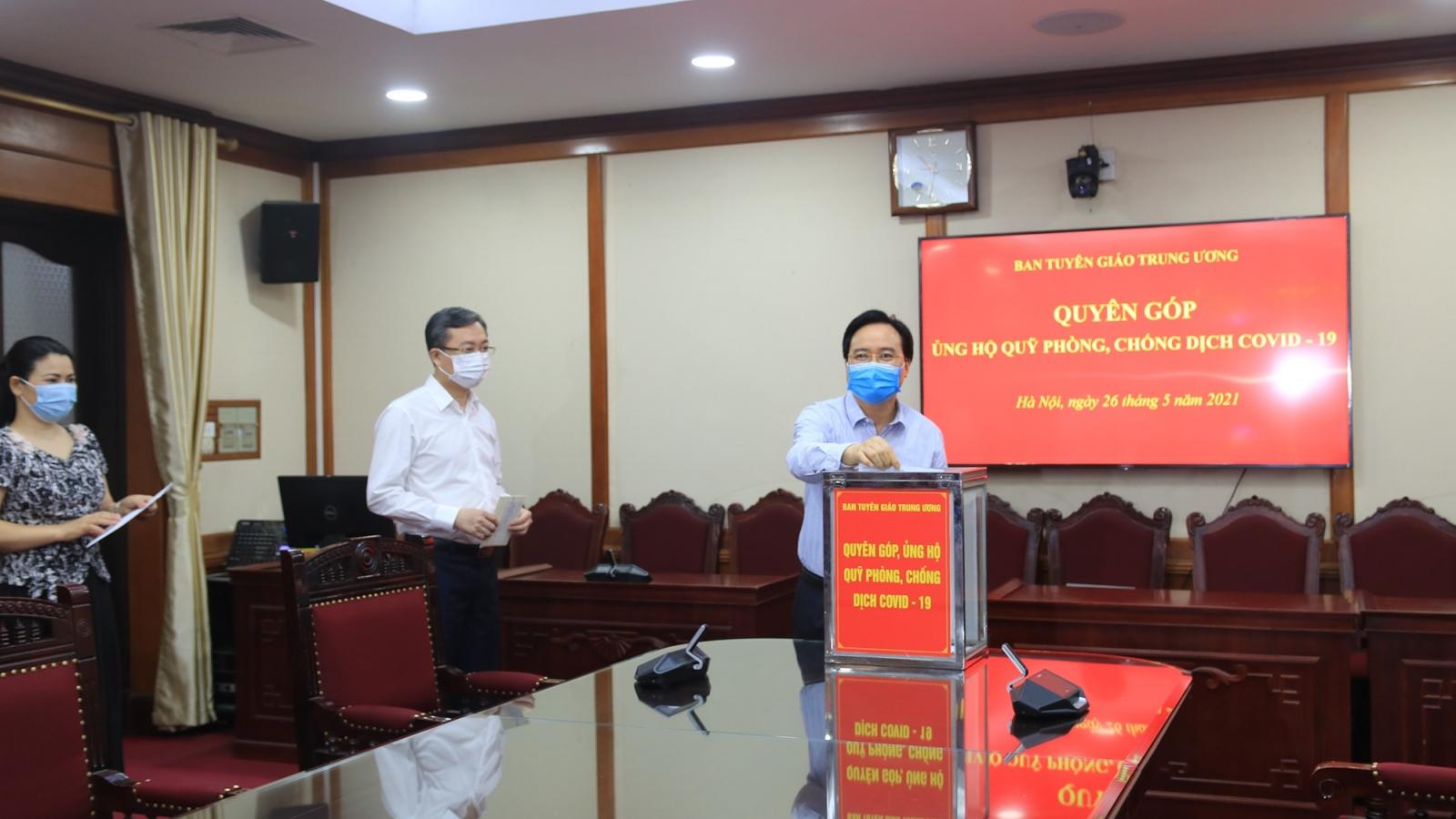Ban Tuyên giáo Trung ương phát động quyên góp ủng hộ Quỹ phòng, chống dịch Covid-19