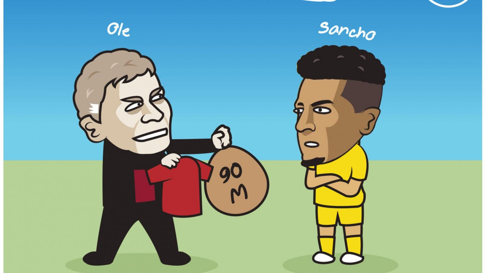 """Biếm họa 24h: MU """"tái khởi động"""" thương vụ Sancho"""