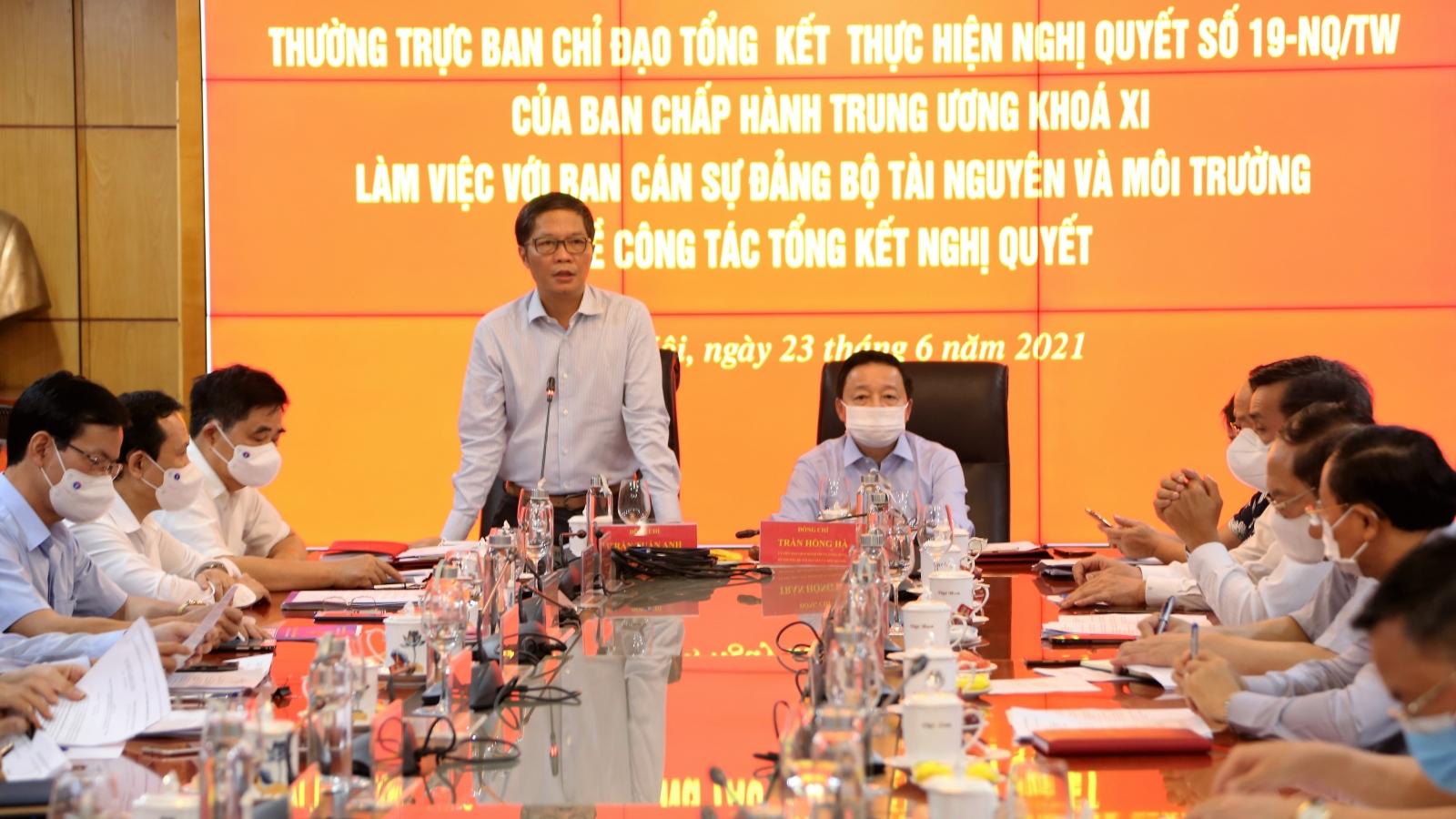 Bộ Tài nguyên và Môi trường cần vào cuộc quyết liệt hoàn thành các nội dung công việc