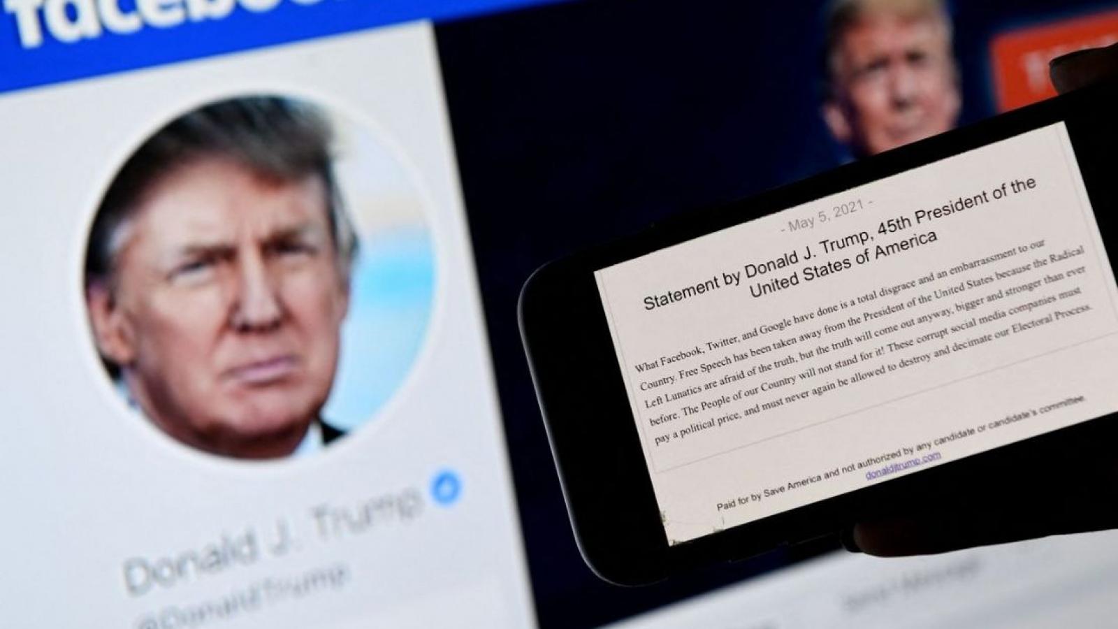 Facebook chặn tài khoản của ông Donald Trump ít nhất 2 năm nữa