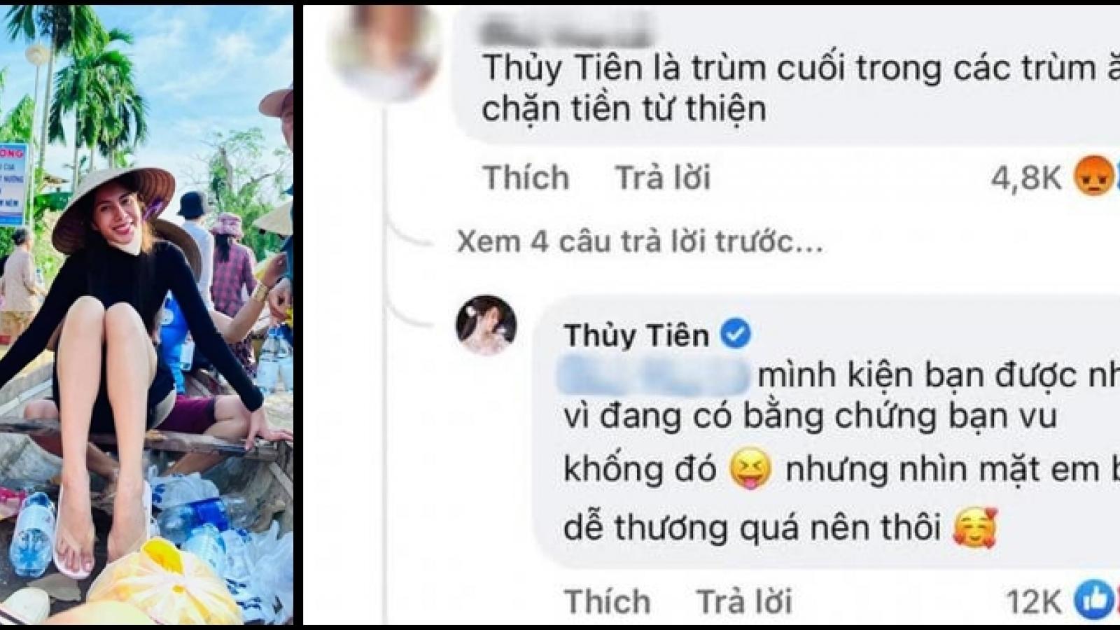 """Chuyện showbiz: Ca sĩ Thủy Tiên đáp trả khi bị gọi là """"trùm ăn chặn"""" tiền từ thiện"""