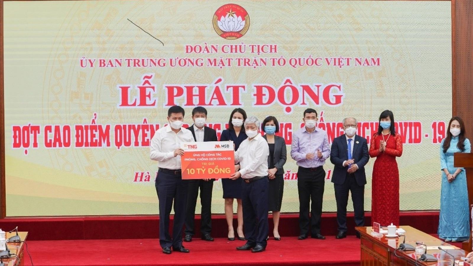 Tập đoàn TNG Holdings Vietnam và Ngân hàng MSB ủng hộ gần 50 tỷ đồng cho phòng, chống dịch