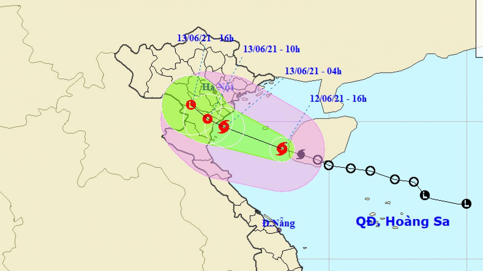 Bão số 2 cách Thái Bình đến Thanh Hoá gần 300km