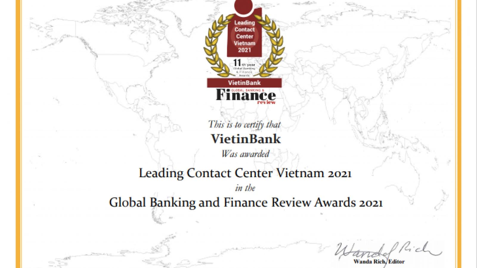 """VietinBank lần thứ 4 nhận giải thưởng """"Trung tâm Dịch vụ khách hàng dẫn đầu Việt Nam"""""""