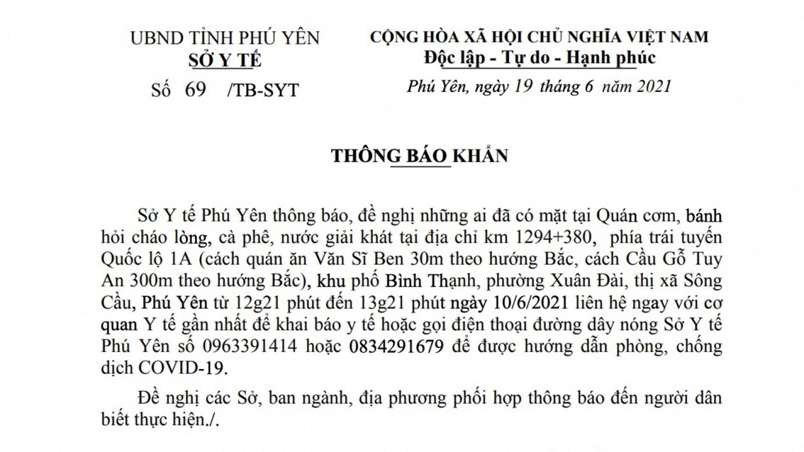 Tìm người liên quan đến bệnh nhân người Lào Cai mắc Covid-19 từng đến Phú Yên