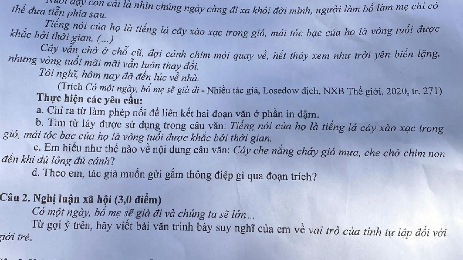 Thi vào 10 tại Nghệ An: Đề Ngữ văn hay nhưng không dễ viết
