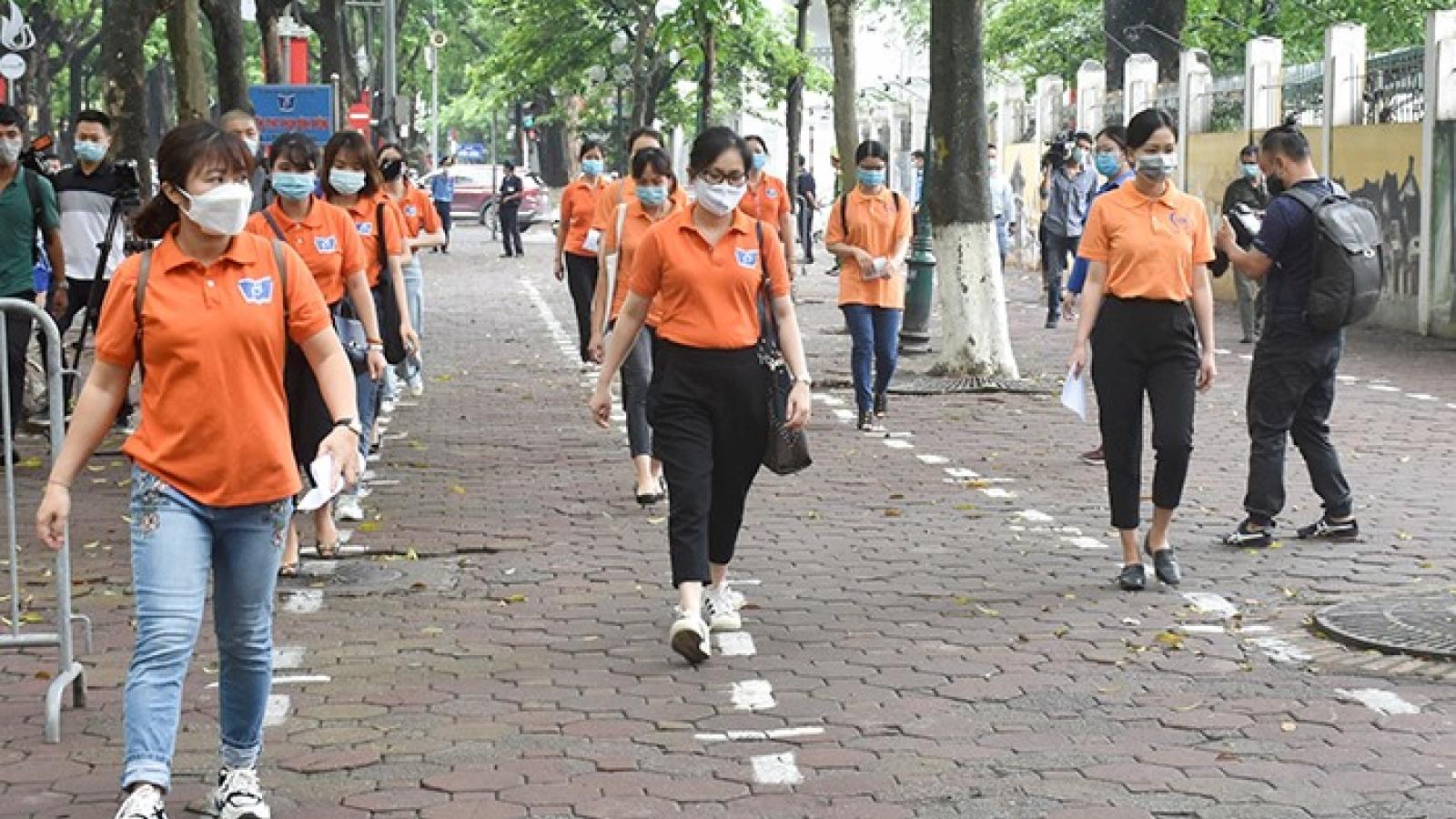 Toàn thành phố Hà Nội diễn tập phòng, chống dịch cho kỳ thi lớp 10 THPT
