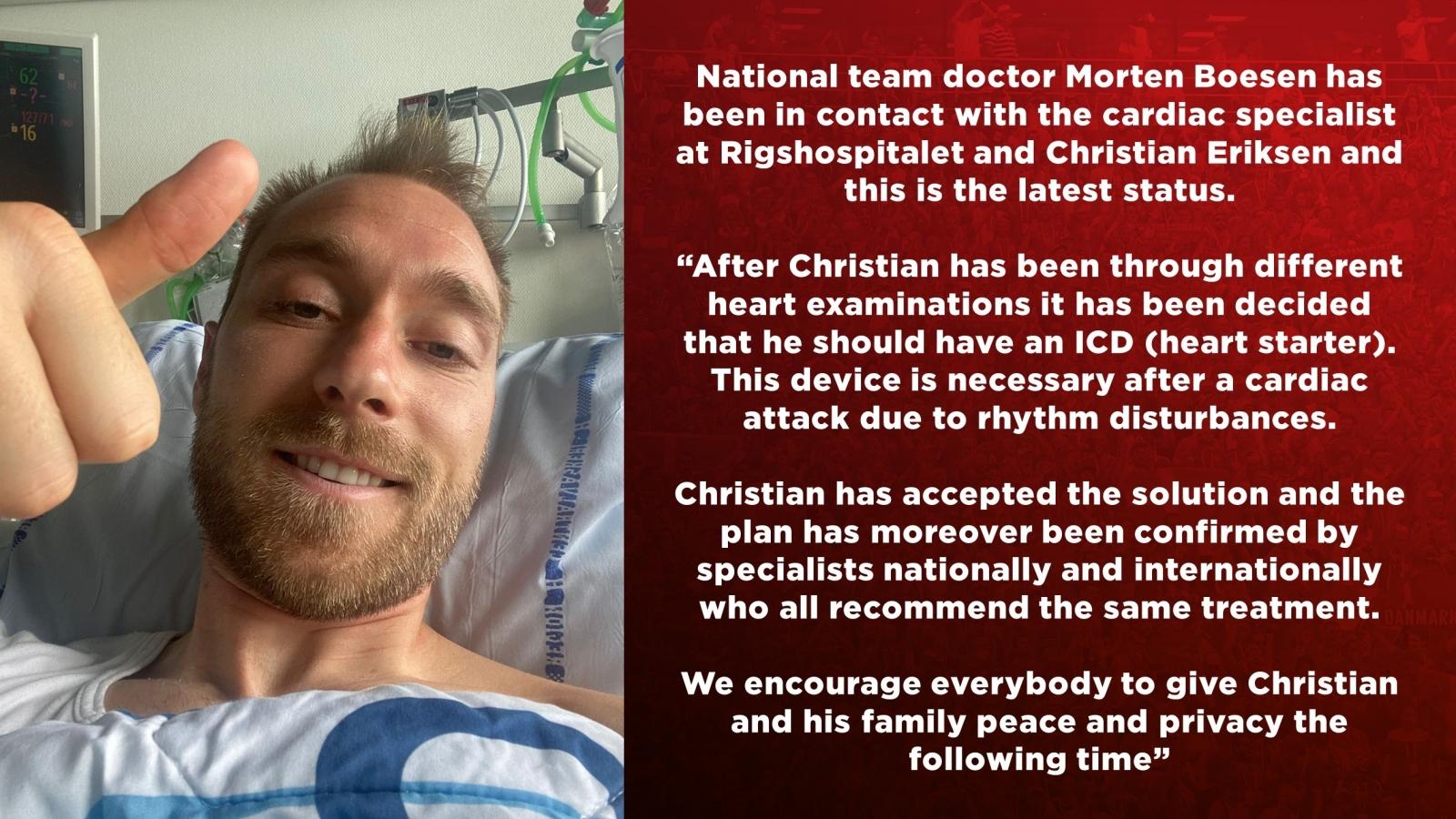 Christian Eriksen đồng ý cấy máy khử rung tim