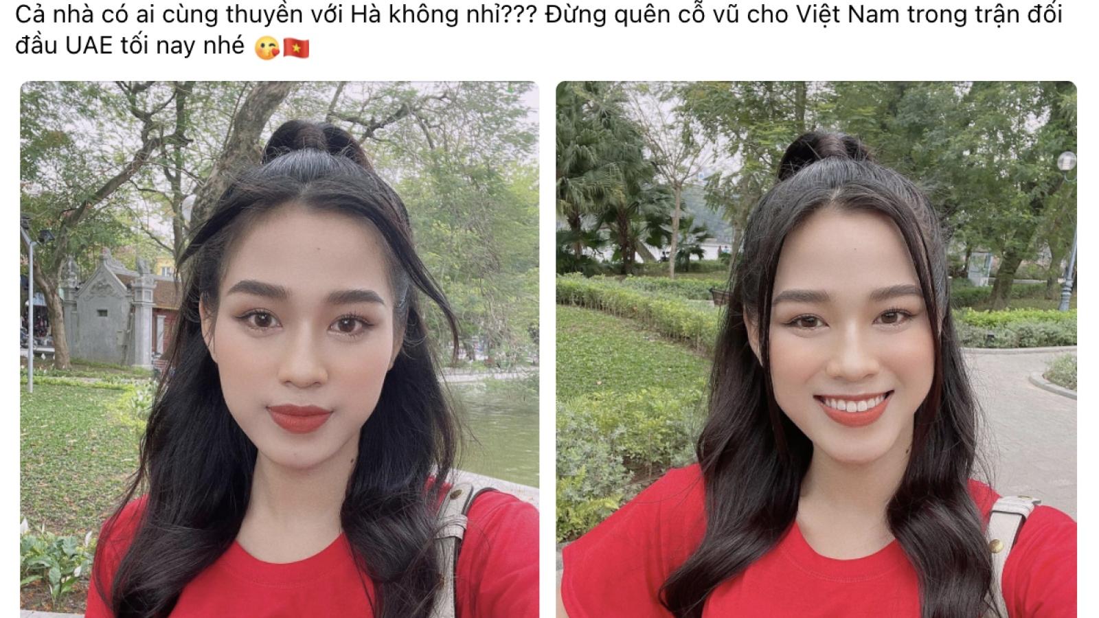 Tiểu Vy, Lương Thùy Linh, Đỗ Hà nhiệt tình ủng hộ đội tuyển Việt Nam