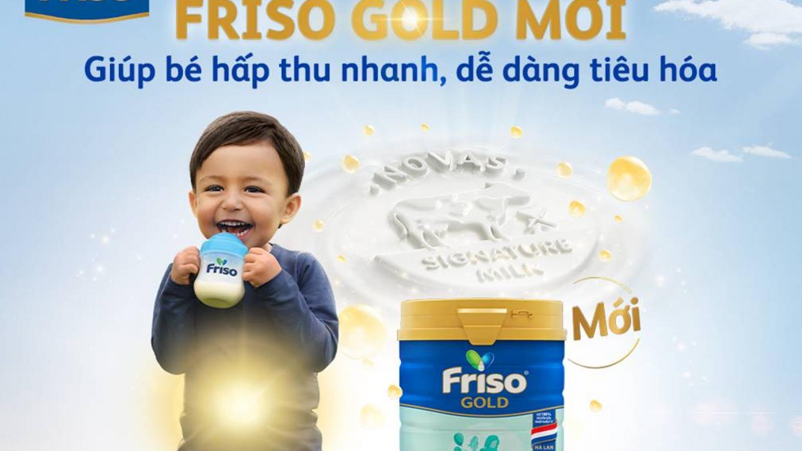 FRISO GOLD với nguồn sữa NOVAS nhiều dưỡng chất, giúp mẹ yên tâm về hệ tiêu hóa của bé
