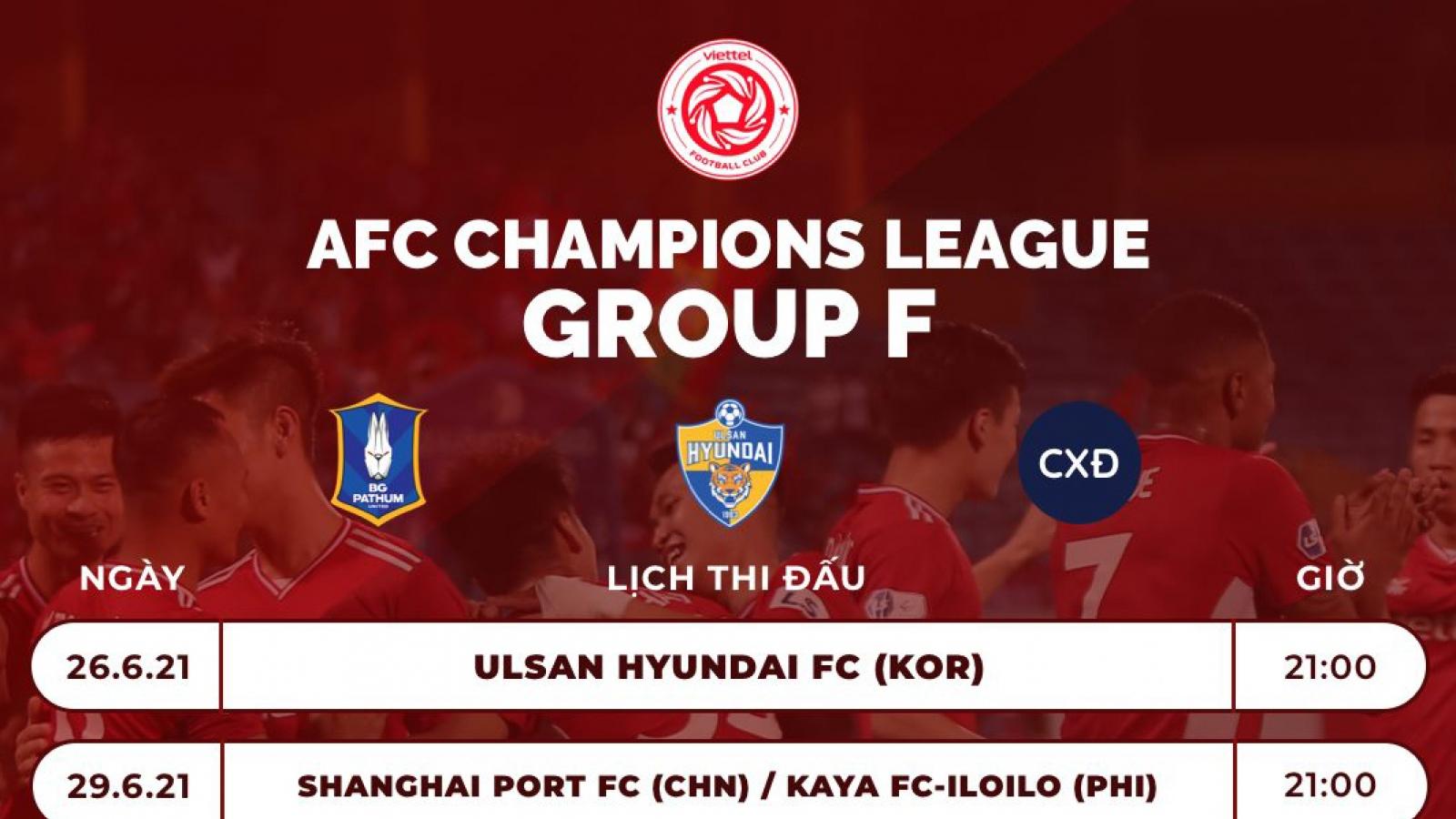 Lịch thi đấu của Viettel ở AFC Champions League 2021
