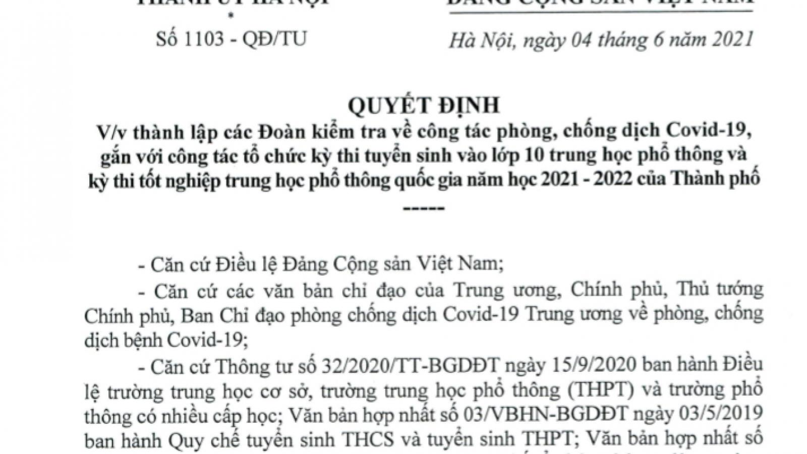 Hà Nội lập 15 đoàn kiểm tra phòng, chống Covid-19 và kỳ thi lớp 10 và tốt nghiệp THPT
