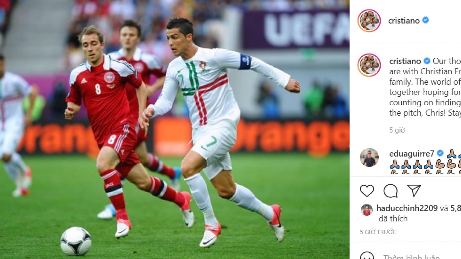 Ronaldo cầu nguyện cho Eriksen, mong đồng nghiệp sớm trở lại sân cỏ