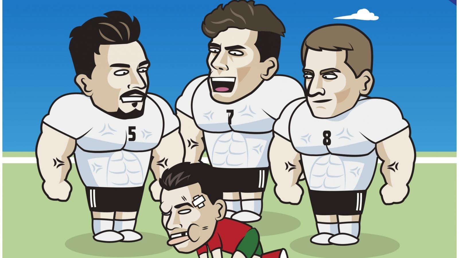 """Biếm họa 24h: Cristiano Ronaldo """"bầm dập"""" vì đọ sức với tuyển Đức"""