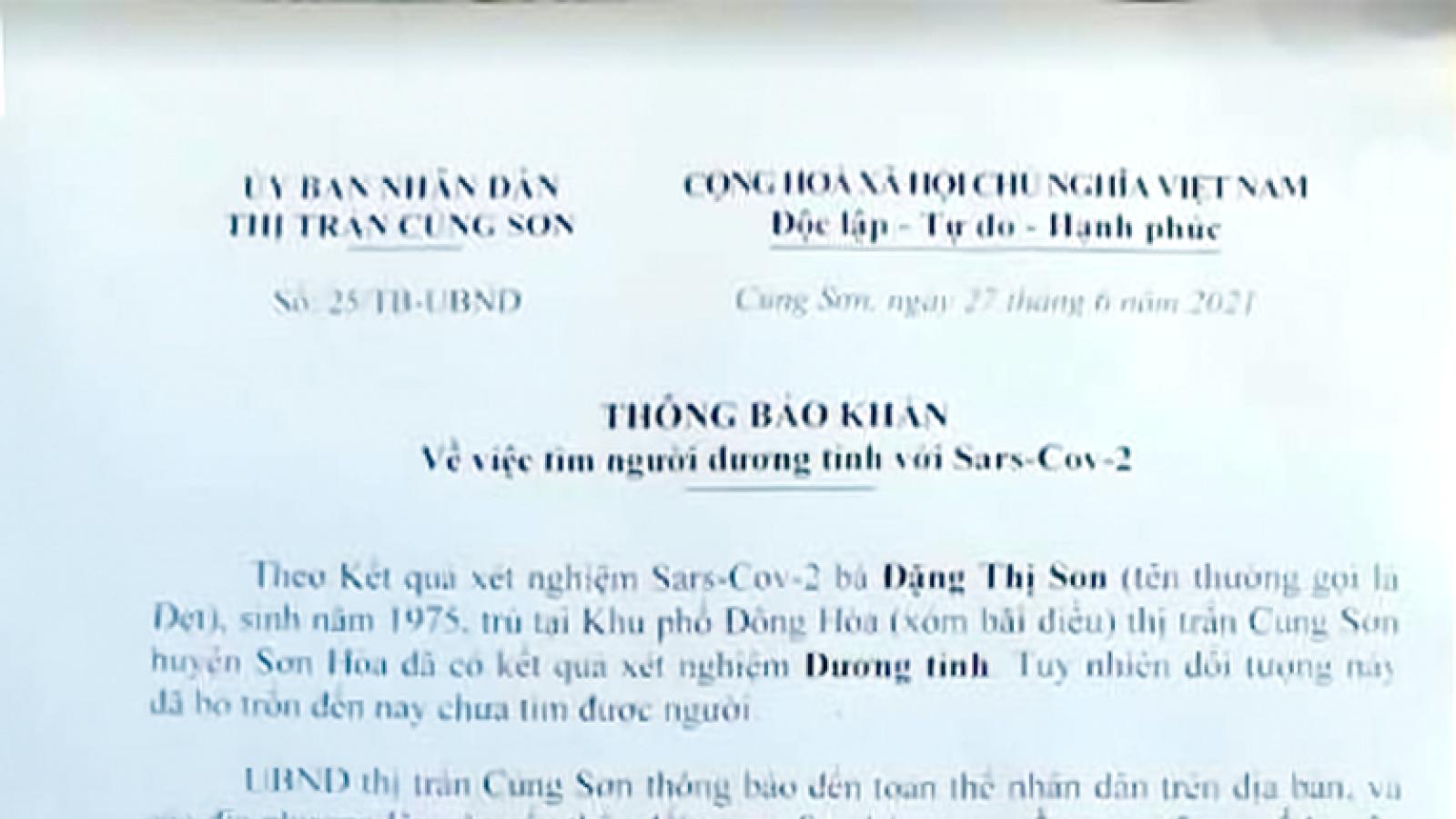 Phú Yên thông báo khẩn ca dương tính SARS-CoV-2 bỏ trốn