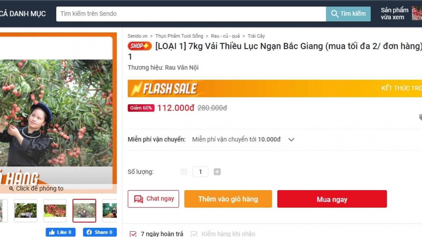 6 sàn thương mại điện tử khởi động hỗ trợ tiêu thụ vải thiều Bắc Giang