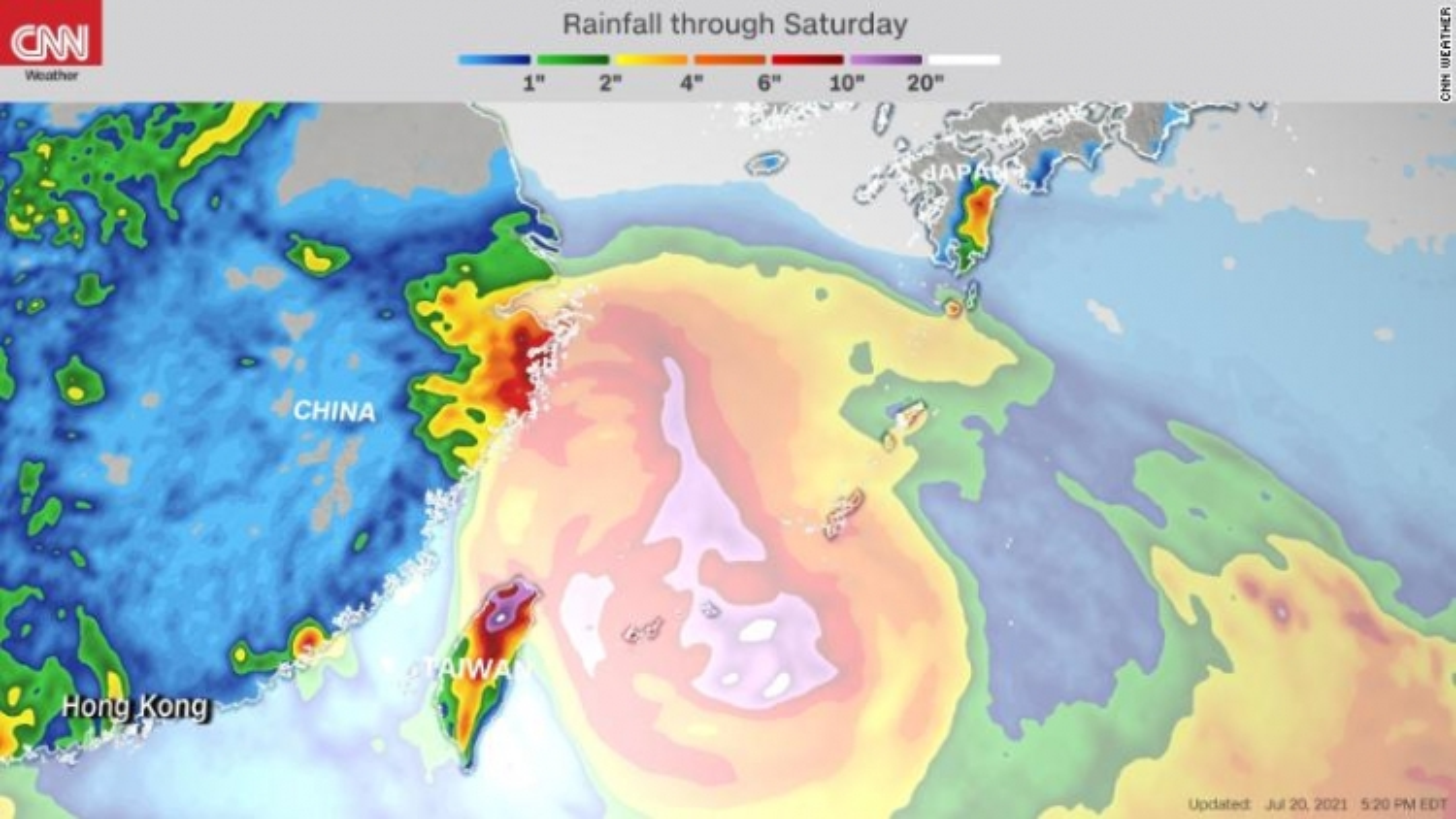 Trung Quốc nâng mức phản ứng khẩn cấp khi bão In-Fa đang tiến gần