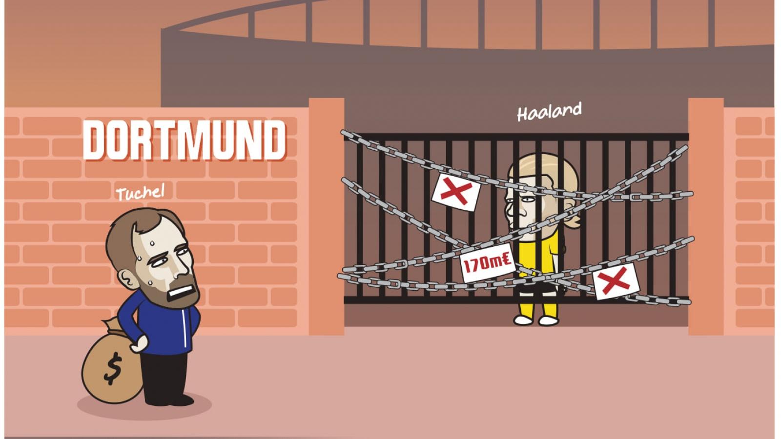 """Biếm họa 24h: HLV Tuchel đứng hình nhìn Dortmund """"nhốt"""" Erling Haaland"""
