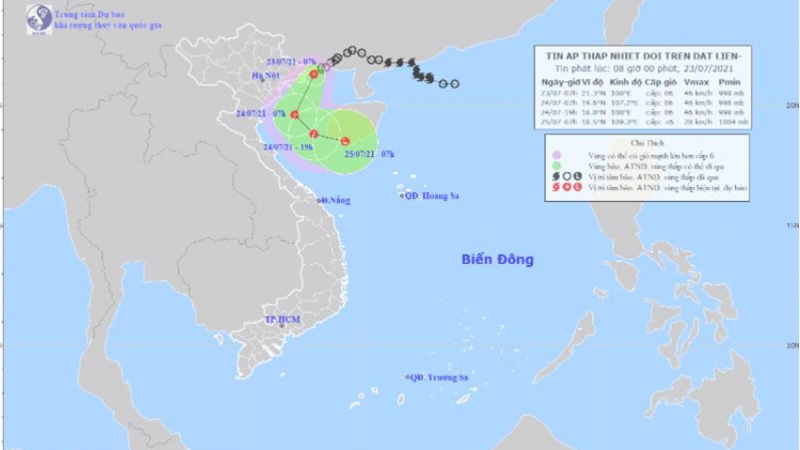 Áp thấp nhiệt đới đang trên vùng biển phía Bắc Quảng Ninh, giật cấp 8