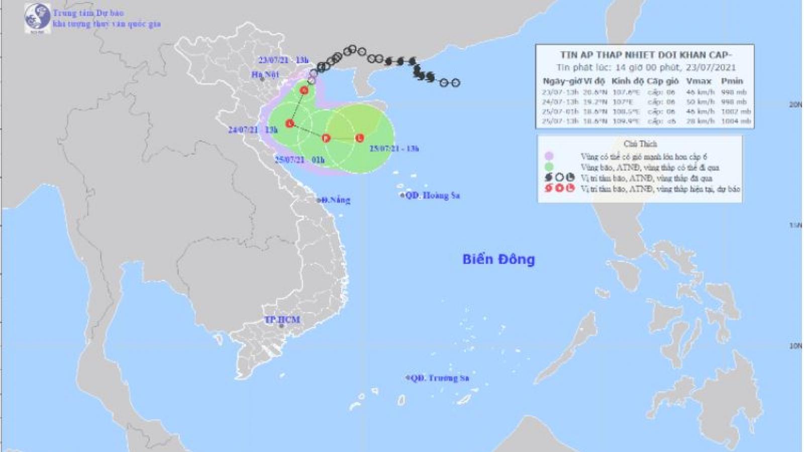 Áp thấp nhiệt đới sẽ khiến khu vực từ Thanh Hóa đến Hà Tĩnh mưa rất to