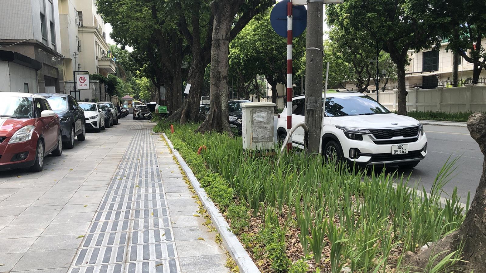 Một số tuyến phố Hà Nội bị xén vỉa hè để làm bồn hoa