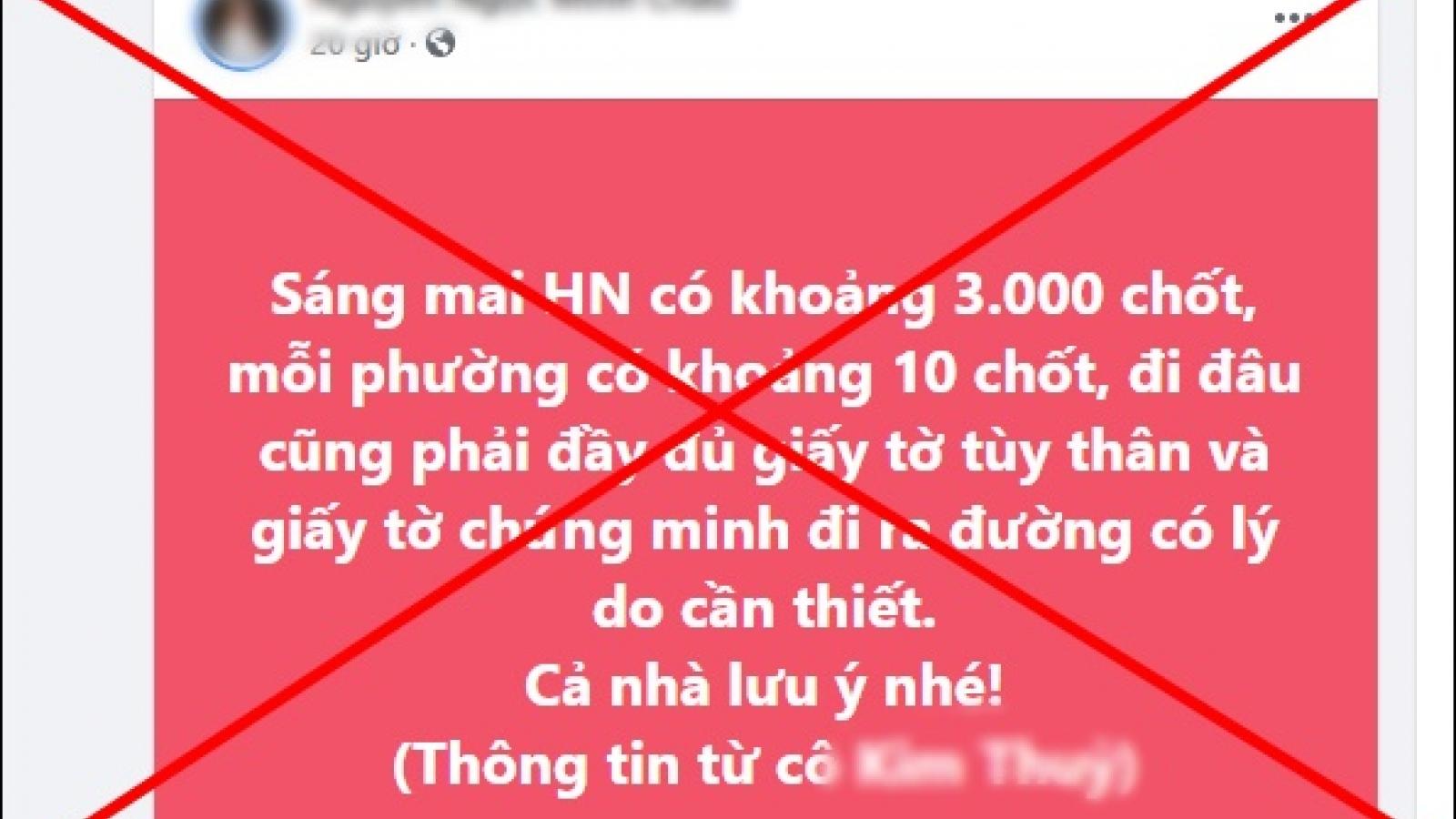 Truy tìm kẻ tung tin đồn Hà Nội lập 3.000 chốt phòng chống dịch COVID-19