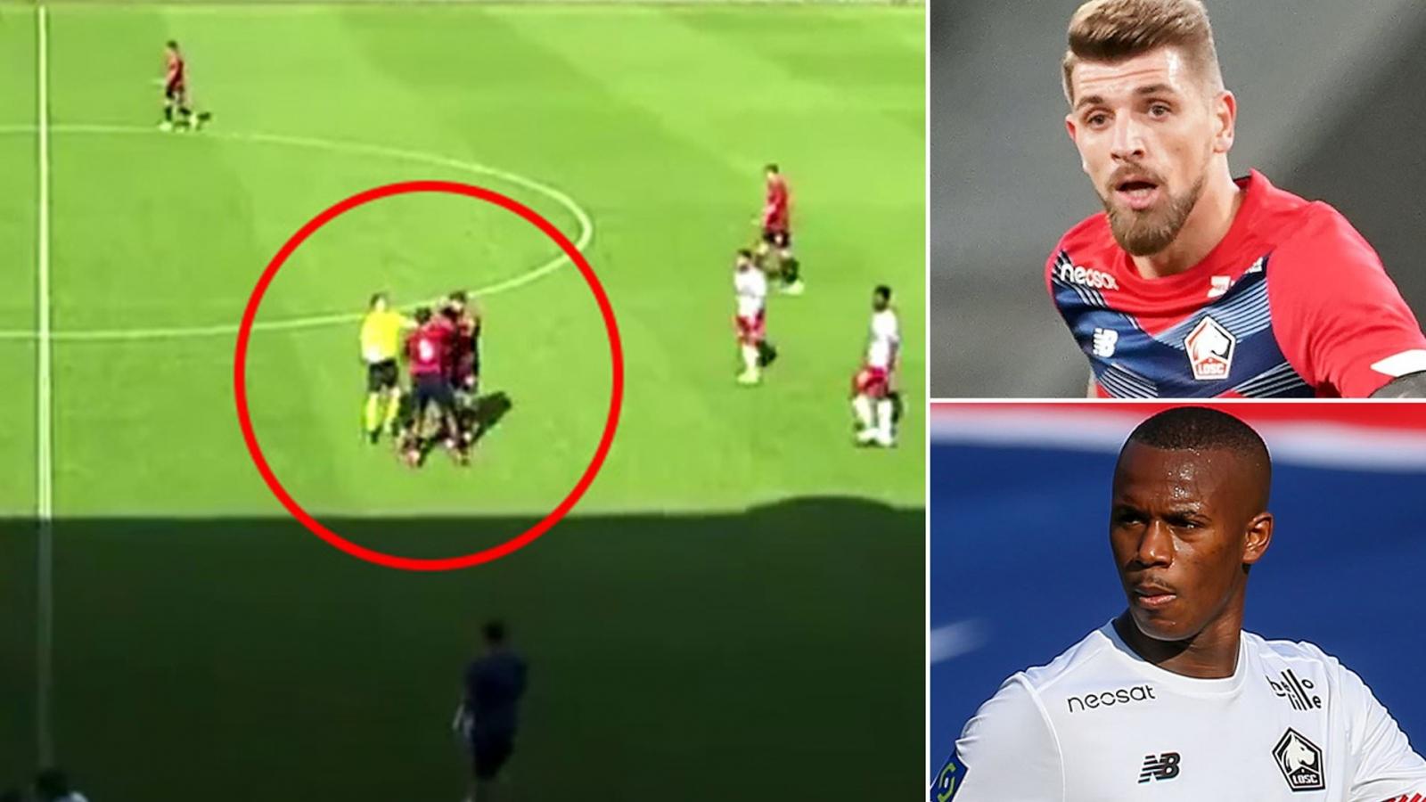 """Lille """"muối mặt"""" vì cầu thủ đánh nhau ngay trên sân"""