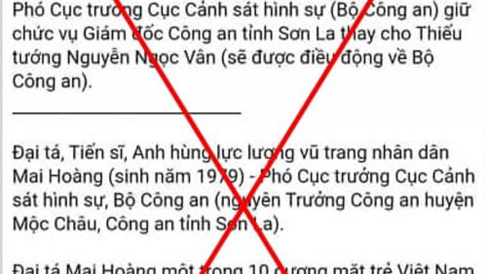 """Thông tin """"Sơn La sắp có Giám đốc Công an tỉnh mới"""" là sai sự thật"""