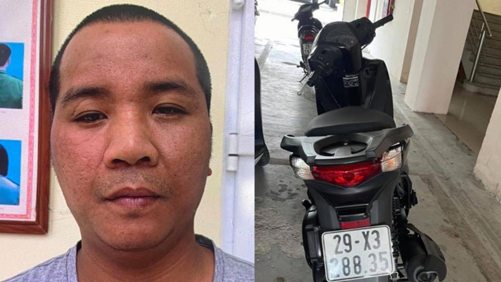 Bắt tên cướp đi xe máy SH gây ra nhiều vụ giật dây chuyền ở Hà Nội