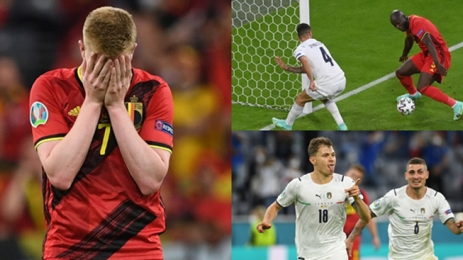 """Italia 2-1 Bỉ: De Bruyne không """"gánh"""" nổi Lukaku"""